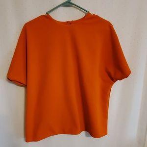 Vintage | Orange Ribbed Dolman Blouse
